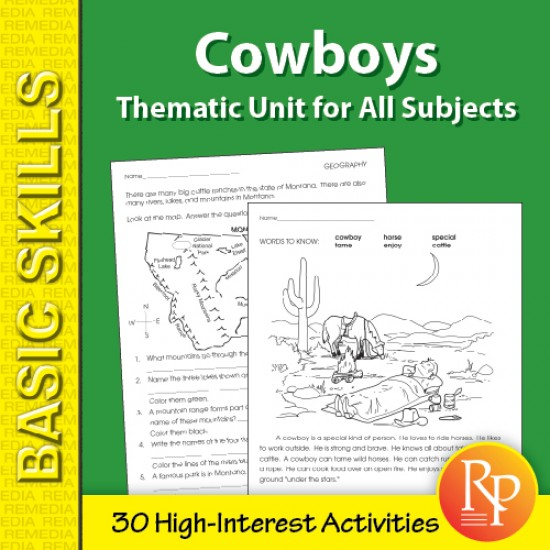 Cowboys: Thematic Skill-Builder Unit for All Subjects (eBook)