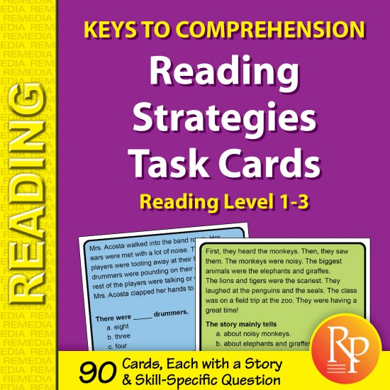 Reading Strategies Task Cards: Keys to Comprehension (Reading Level 1-3)