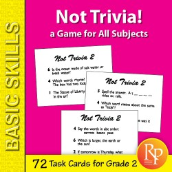 Not Trivia! Task Card Game for All Subjects (Grade 2)