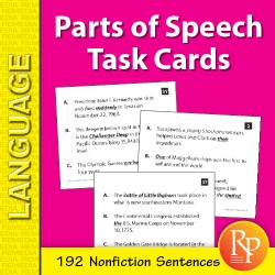 Parts of Speech: 192 Nonfiction Sentences (Task Cards)