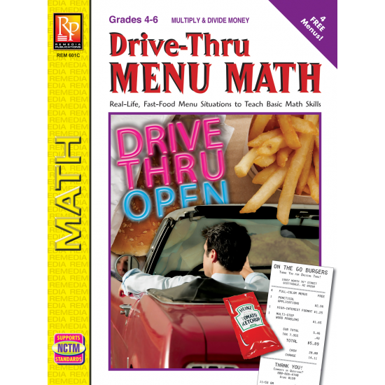 Drive-Thru Menu Math: Multiply & Divide Money (eBook)
