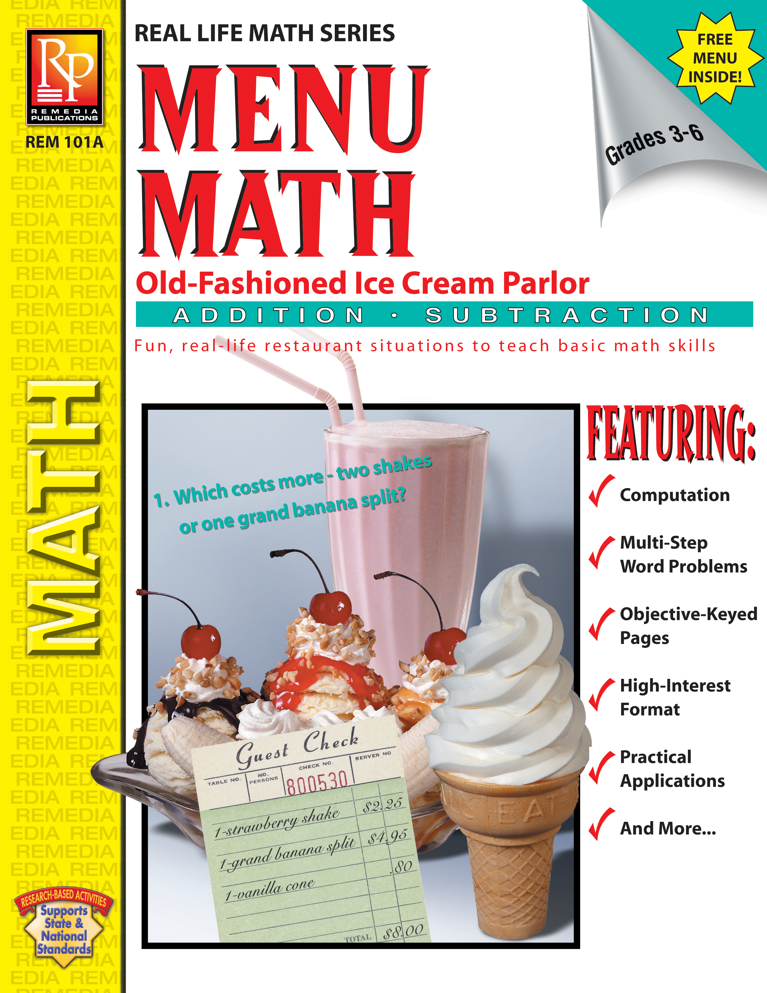 Menu Math Old Fashioned Ice Cream Parlor Addition Subtraction Ebook [ 3300 x 2550 Pixel ]