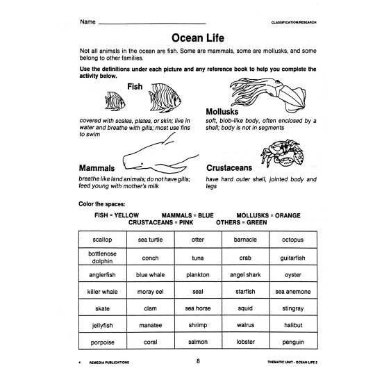 Ocean Life 2: Thematic Unit for All Subjects (eBook)