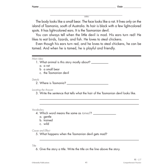Skill-By-Skill Comprehension Practice - Reading Level 1-3 (eBook)