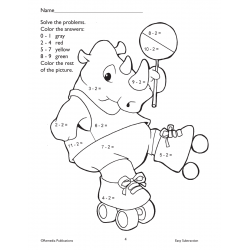 Easy Subtraction Coloring Fun (Enhanced eBook)