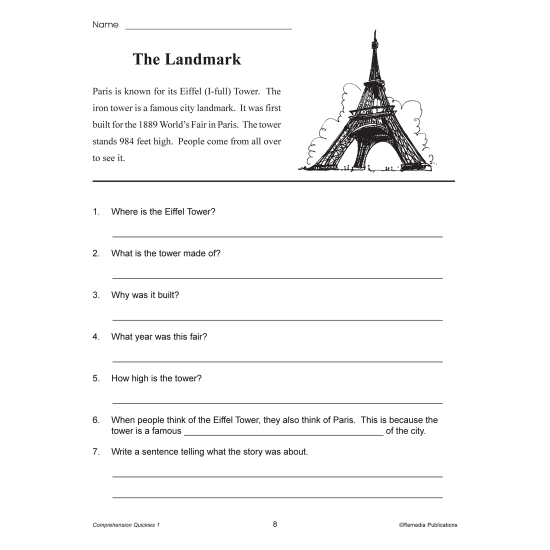 Comprehension Quickies - Reading Level 1 (eBook)