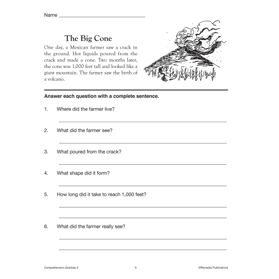Comprehension Quickies - Reading Level 3 (eBook)