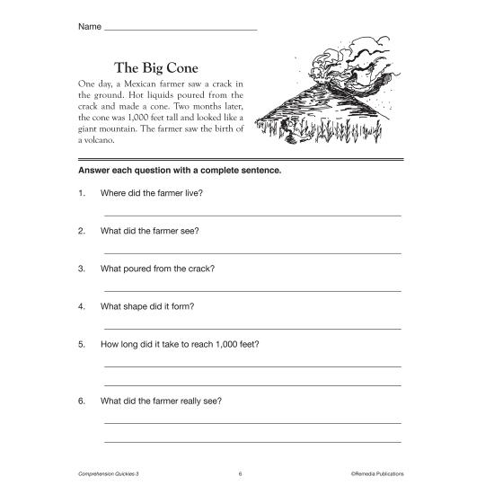 Comprehension Quickies - Reading Level 3 (Enhanced eBook)