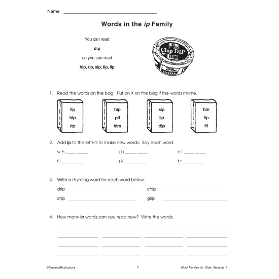 Word Families for Older Students - Book 1 (eBook)