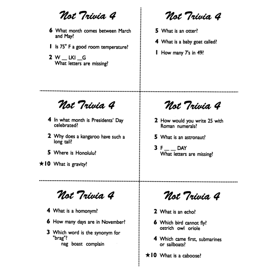 Not Trivia! Task Card Game for All Subjects (Grade 4)