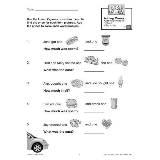 Drive-Thru Menu Math: Beginning Money Skills (eBook)