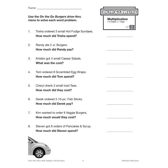 Drive-Thru Menu Math: Multiply & Divide Money (Enhanced eBook)