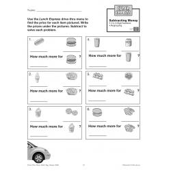 Subtracting Money: Drive-Thru Lunch Menu (Chapter Slice)
