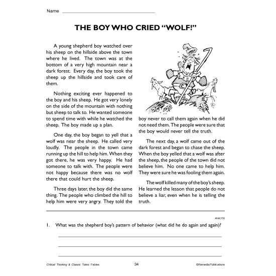 The Boy Who Cried Wolf: Critical Thinking & Classic Tales (Chapter Slice)