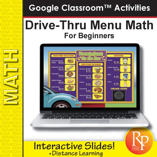 Drive Thru Menu Math for Beginners: Google Classroom Slides Distance Learning