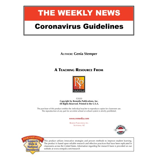 Corona Virus Guidelines - 15 Days to Slow the Spread Reading Lesson & Activities