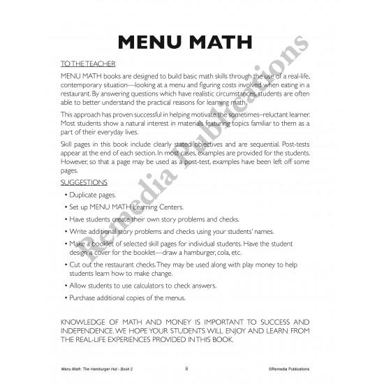 Menu Math: The Hamburger Hut +, - (eBook)