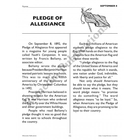 Daily Comprehension: September (eBook)
