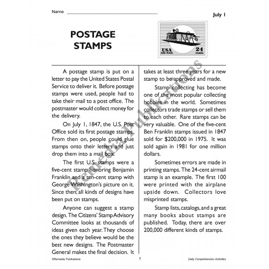 Daily Comprehension: July (eBook)
