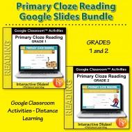 Beginning Cloze Reading Stories & Activities BUNDLE GOOGLE SLIDES Cloze Rdg 1-2