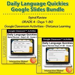 Google Classroom Bundle: Daily Language Quickies Grade 4 (1-80)