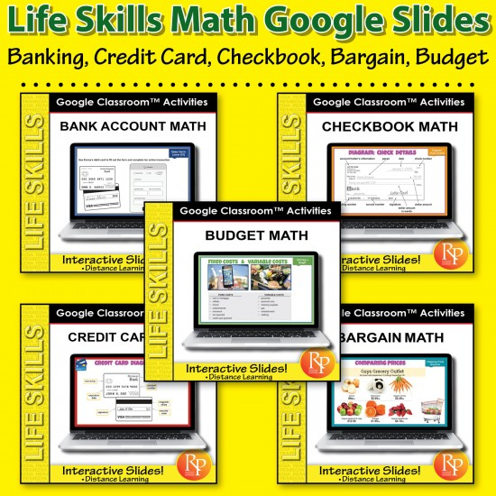 Life Skills Math GOOGLE SLIDES: Banking, Credit Card, Checkbook, Bargain, Budget