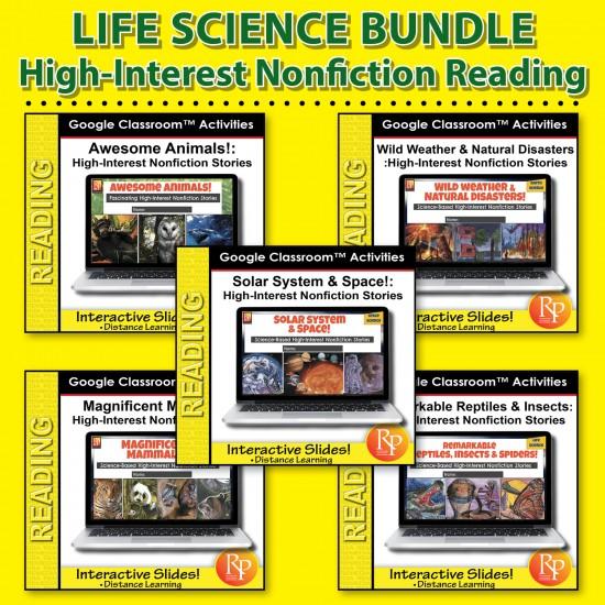 274 Google Slides BUNDLE! HIGH-INTEREST/LOW READING LVL- SUPER SCIENCE STORIES!