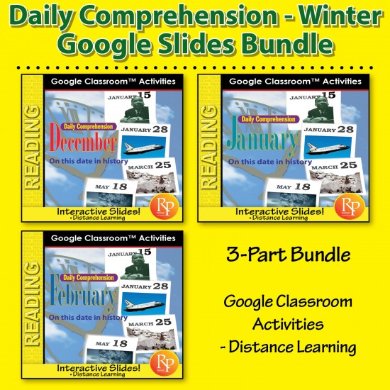 """DAILY READING COMPREHENSION DEC, JAN, FEB """"On This Day in History"""" Google Slides"""