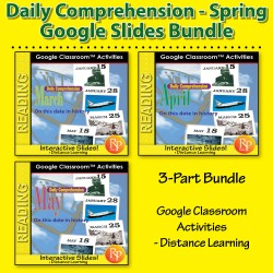 """DAILY READING COMPREHENSION SPRING Mar, Apr, May """"On This Day in History"""" Google Slides bundle"""