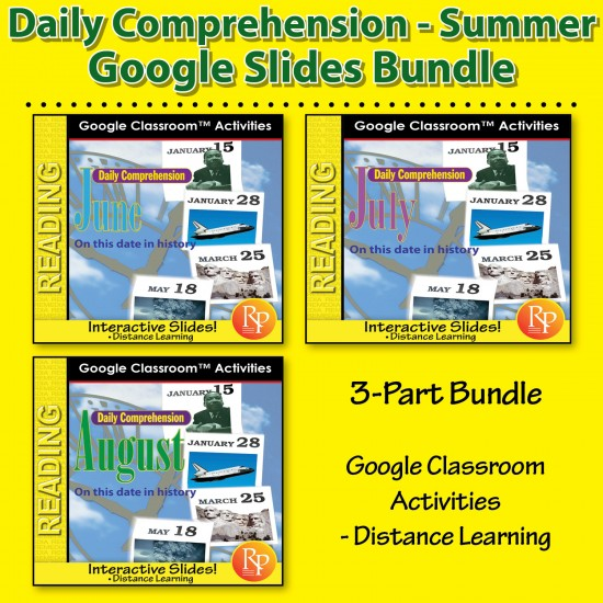 """DAILY READING COMPREHENSION SPRING June, July, August """"On This Day in History"""" Google Slides Bundle"""