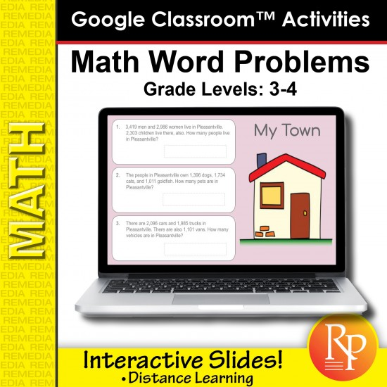 Google Classroom Activities: Math Word Problems Grades 3-4 | Distance Learning