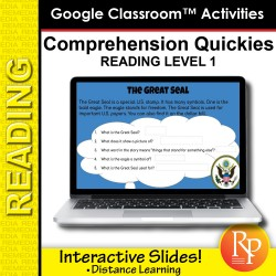 Google Slides: Comprehension Quickies Reading Level 1   Distance Learning