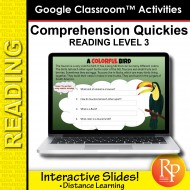 Google Slides: Comprehension Quickies Reading Level 3 | Distance Learning