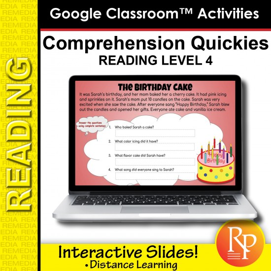 Google Classroom: Comprehension Quickies Reading Level 4 | Distance Learning