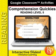 Google Classroom: Comprehension Quickies Reading Level 5 | Distance Learning
