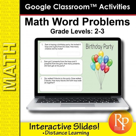 Google Classroom Activities: Math Word Problems Grades 2-3 | Distance Learning
