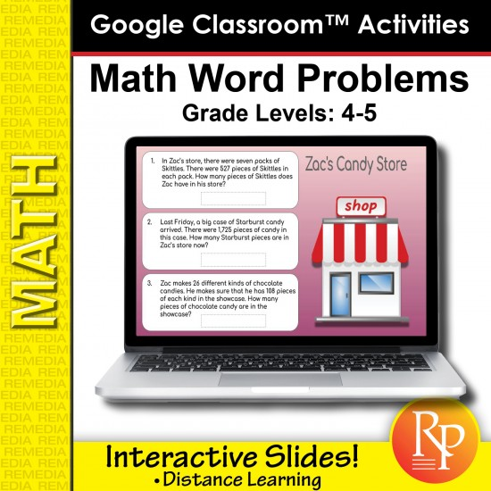 Google Classroom Activities: Math Word Problems Grades 4-5 | Distance Learning
