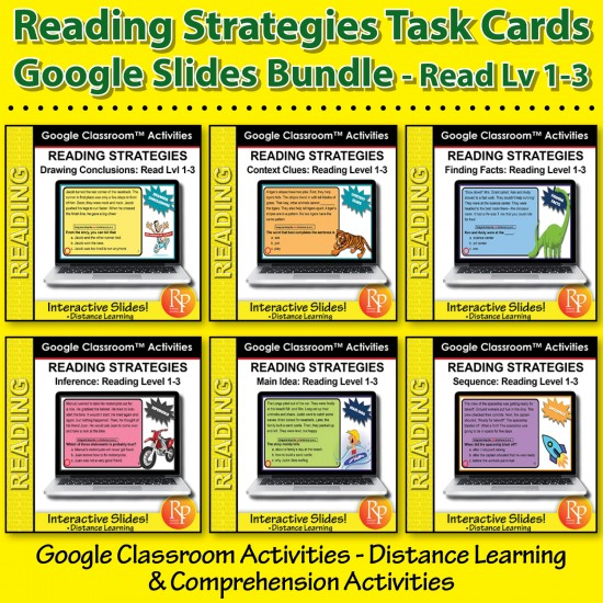 Google Slides BUNDLE! Specific Reading Strategies & Skills | Distance Learning