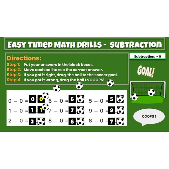 Google Classroom: Easy Timed Math Drills - Subtraction