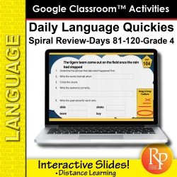 Google Classroom Activities: Daily Language Quickies Gr 4.3 | Distance Learning