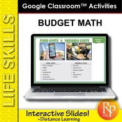 BUDGET MATH: Life Skills GOOGLE SLIDES Activities- math word problems, money...