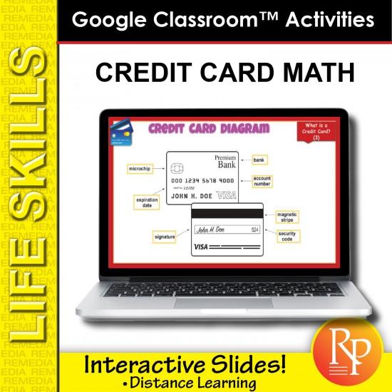 CREDIT CARD MATH: Life Skills GOOGLE SLIDES Activities- banking, word problems