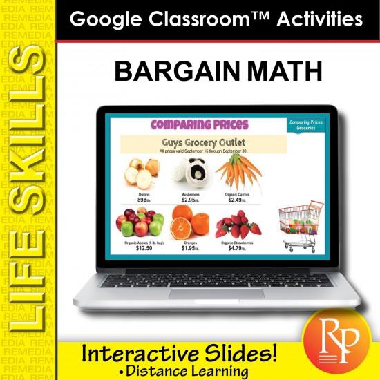 BARGAIN MATH: Life Skills GOOGLE SLIDES Activities - money, shopping, financial