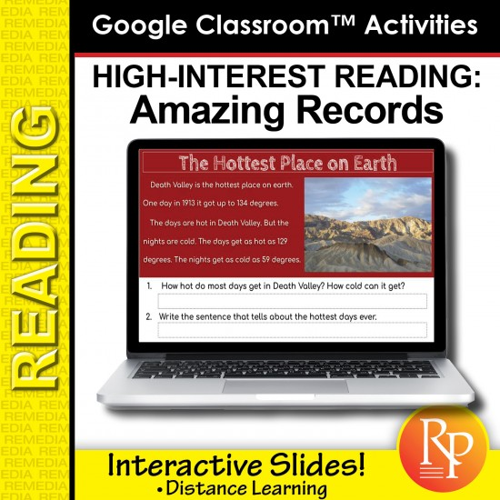 Google Slides - High Interest / Low Vocabulary Reading about AMAZING RECORDS!