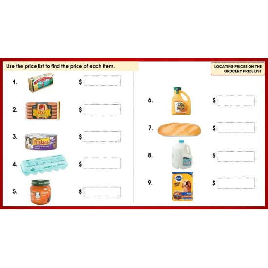 MARKET & GROCERY STORE MATH FOR BEGINNERS- 200 GOOGLE SLIDES! add/subtract