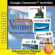 NOVEMBER - DAILY READING COMPREHENSION: Google Slides Interactive Activities