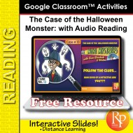 GOOGLE SLIDES Halloween Mini Mystery, Comprehension, & Audio Activities!