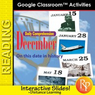 """DECEMBER - DAILY READING COMPREHENSION """"This Day in History"""" Google Slide Lessons"""