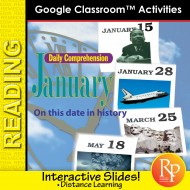"""JANUARY - DAILY READING COMPREHENSION """"This Day in History"""" Google Slide Lessons"""