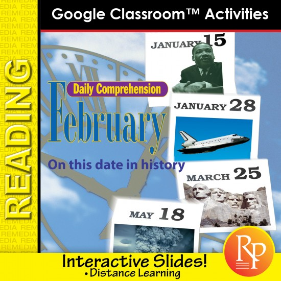 """FEBRUARY - DAILY READING COMPREHENSION """"This Day in History"""" Google Slide Lessons"""